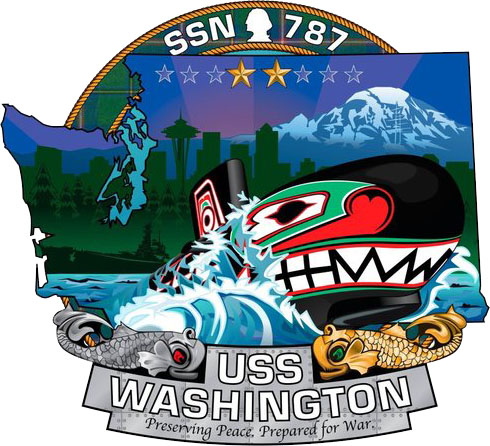 The ship's crest of the Virginia-class attack submarine USS Washington (SSN 787). (U.S. Navy graphic/Released)