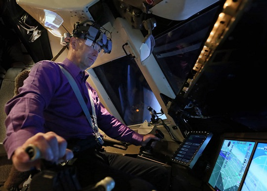 Dan Kiggins, airline captain training on the motion simulator at NASA Langley. 6/7/16